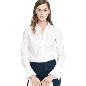 Banana Republic White Pleat Cuff Riley Button Down